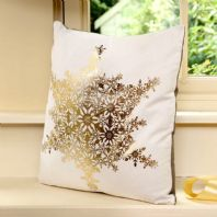 Christmas Cushion With Gold Snowflake Design